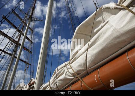 folded sail on a sailing tall ship bangor northern ireland - Stock Photo