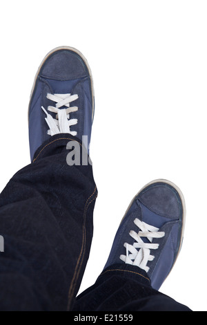 Walking in sport shoes isolated on white. - Stock Photo
