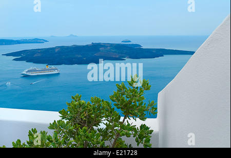 Sea view from balcony and plant, Santorini island, Greece - Stock Photo
