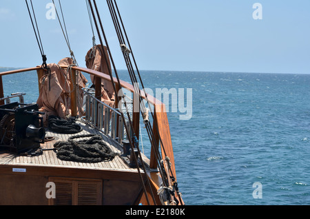 Rigging on the Jolly Roger II sailing off the coast of Cyprus - Stock Photo