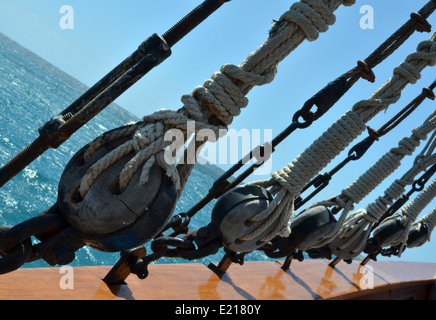 Rigging on the sailing ship Jolly Roger II - Stock Photo