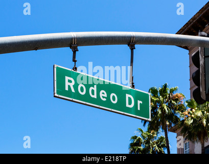 Rodeo Drive street sign, Beverly Hills, Los Angeles, California, USA - Stock Photo