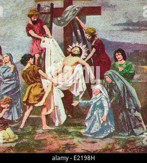 Jesus Christ being removed from the Cross after Crucifixion - Stock Photo