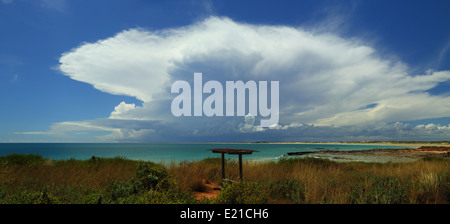 A glorious late-summer thunderstorm building over Cable Beach, Broome - Western Australia. - Stock Photo
