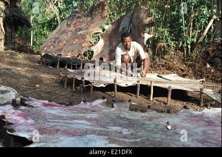 Tanner at work ( Ethiopia) - Stock Photo