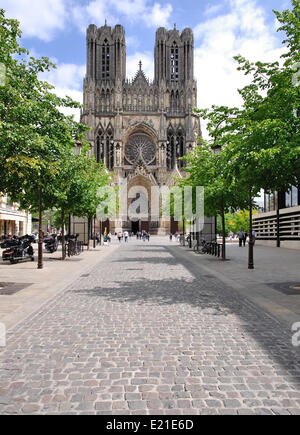the Cathedral of Reims in France - Stock Photo