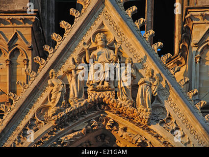 at the Cathedral in reims - Stock Photo