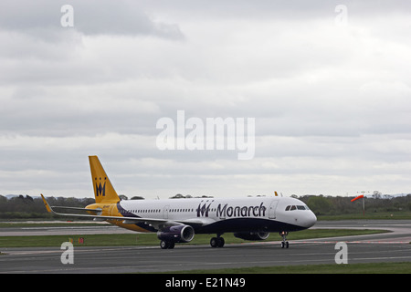 Monarch Airlines Airbus A321-231 taxiing at Manchester Airport, England - Stock Photo