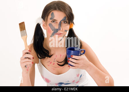 young woman making coffee break - Stock Photo