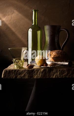 Still Life with Lemon, Bread & Berkemeyer - Stock Photo