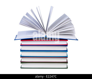 Open book on stack of books isolated. - Stock Photo