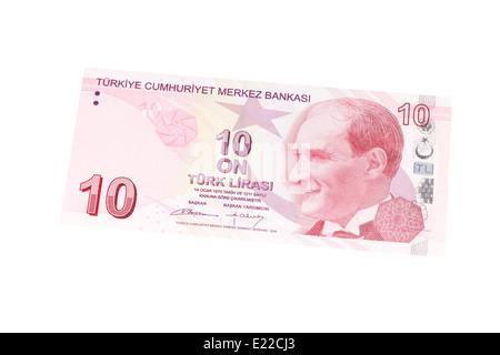 Turkish ten lira banknote on a white background - Stock Photo