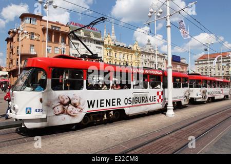 A tram runs through Ban Jelacic Square in Zagreb, Croatia. - Stock Photo