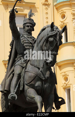 Statue of General Josip Jelacic (1801 - 1959) on Ban Jelacic Square in Zagreb, Croatia. - Stock Photo