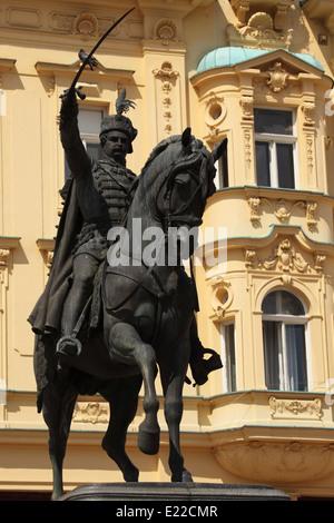 Statue of General Josip Jelacic (1801 - 1959) on Ban Jelacic Square in Zagreb, Croatia. - Stock Photo
