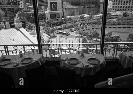 Overlooking the Bellagio Hotel from the Paris Hotel, Las Vegas, Nevada. - Stock Photo