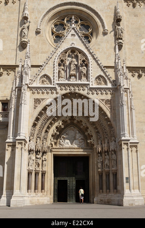 The entrance to Zagreb Cathedral in Croatia. - Stock Photo