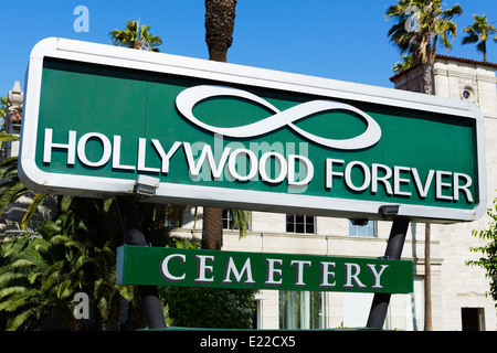 Hollywood Forever Cemetery, where many famous people are buried, Santa Monica Boulevard, Hollywood, Los Angeles, - Stock Photo