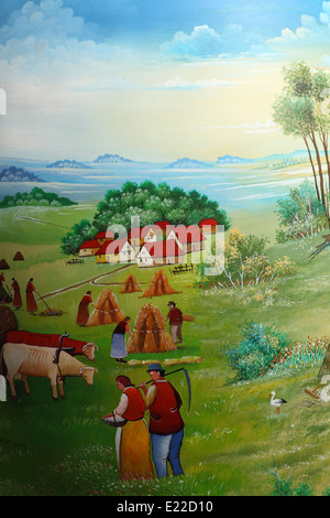 Detail from a giant painted egg outside of the Croatian Naive Art gallery in Zagreb, Croatia. - Stock Photo