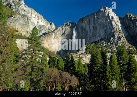 CALIFORNIA - Upper Yosemite Falls and the Merced River from Yosemite Valley in Yosemite National Park. - Stock Photo