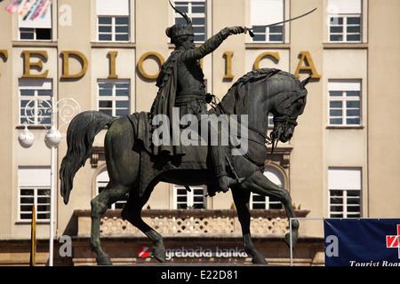 General Josip Jelacic (1801 - 1959) statue, Ban Jelacic Square, Zagreb, Croatia. - Stock Photo