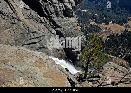 CA02201-00...CALIFORNIA - Overlooking Yosemite Valley from the crest of Upper Yosemite Fall in Yosemite National - Stock Photo