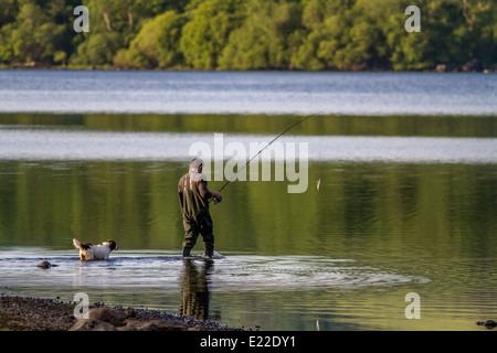 Fly fishing on Bassenthwaite Lake, English Lake District - Stock Photo