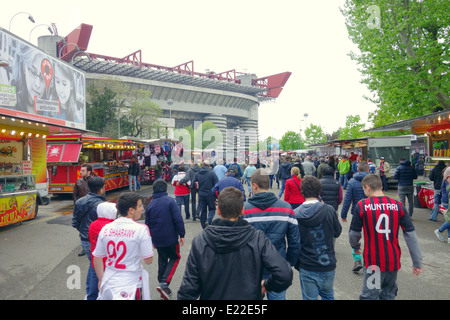 Outside San Siro stadium before an AC Milan game in Milan, Italy - Stock Photo