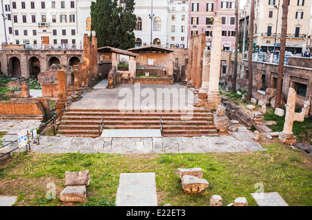 roman temple ruins in the so-called Area Sacra in Rome. Italy - Stock Photo