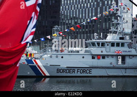 Liverpool, Merseyside, UK 13th June, 2014. HMC Vigilant a Border Agency (customs) cutter or Border Force on the1st - Stock Photo