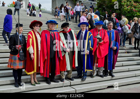 BURNABY, BC, CANADA.  JUNE 12, 2014:  Dignitaries in the Simon Fraser University Spring 2014 convocation for the - Stock Photo