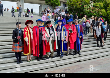 BURNABY, BC, CANADA.  JUNE 12, 2014:  Dignitaries and academics in the Simon Fraser University Spring 2014 convocation - Stock Photo