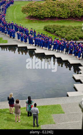 BURNABY, BC, CANADA.  JUNE 12, 2014:  Simon Fraser University undergraduates stand by the pond in the Academic Quadrangle - Stock Photo