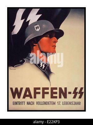 WAFFEN SS PROPAGANDA POSTER 1940's German wartime propaganda recruitment poster for the notorious brutal Nazi Waffen - Stock Photo