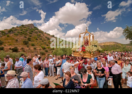Pilgrimage Virgen de la Fuensanta, The Tourist Route of the Bandits, Corcoya, Seville province, Region of Andalusia, - Stock Photo