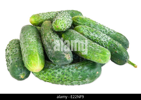Stack of cucumbers isolated on white background with clipping path - Stock Photo