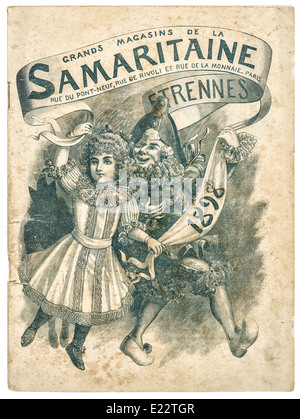 antique shop advertising, cover of original shopping catalog La Samaritaine, Paris, France, circa 1898 - Stock Photo
