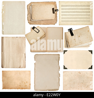set of old paper sheet, bookpage, cardboard, photo frame with corner isolated on white background - Stock Photo
