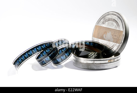 Vintage roll of film in a metal box - Stock Photo