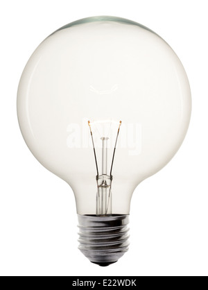 Single glowing glass light bulb - Stock Photo