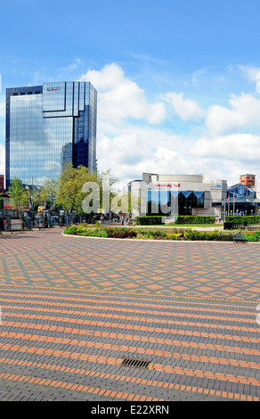 View of the Symphony Hall and ICC in Centenary Square with the Hyatt Hotel to the left hand side, Birmingham, UK. - Stock Photo