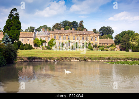 The south front and lake at Brympton d'Evercy House nr Yeovil, Somerset, England, UK - Stock Photo