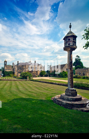 The west front and dovecote at Brympton d'Evercy House nr Yeovil, Somerset, England, UK - Stock Photo