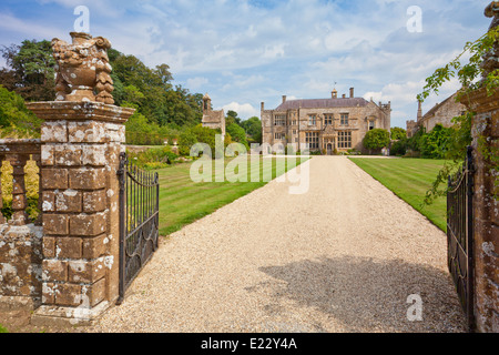 The west front and driveway at Brympton d'Evercy House nr Yeovil, Somerset, England, UK - Stock Photo