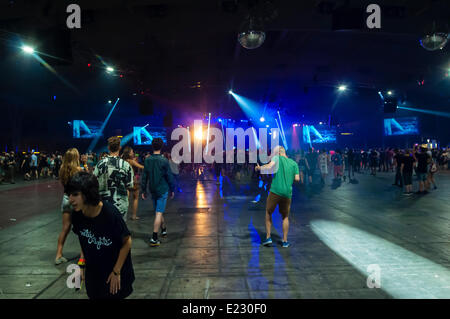 Sónar 2014. Sonar by night. SonarClub stage. Lighting during the performance of DJ Flux Pavilion (UK) - Stock Photo