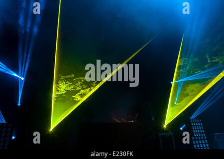 Sónar 2014. Sonar by night. SonarClub stage. Lighting during the performance of Pretty Lights(UK). - Stock Photo