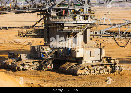 Caterpillats detail view of a giant Bucket Wheel Excavator in an endless lignite pit mine - Stock Photo