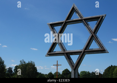 Star of David made from the railways rails and the wooden Latin cross over the National Cemetery in Terezin, Czech - Stock Photo