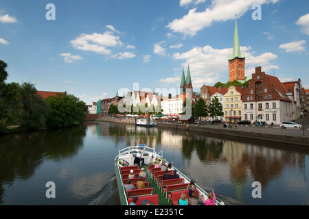View to Obertrave with St. Marys of Lübeck and St. Peters Church, Lübeck, Schleswig-Holstein, Germany - Stock Photo