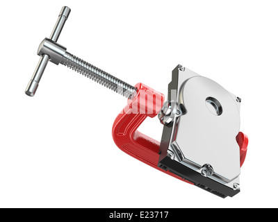 Data compression concept. Hard disk drive in vise. 3d - Stock Photo